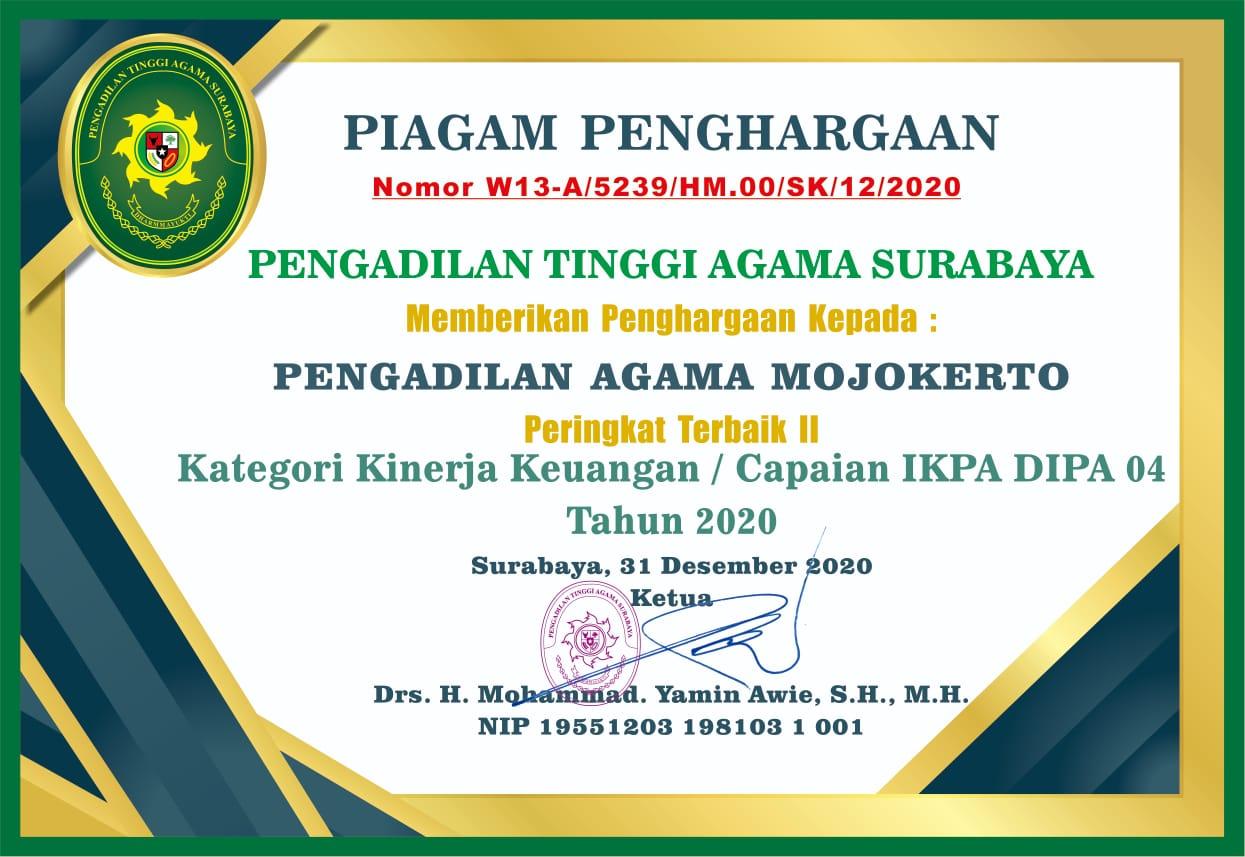 Peringkat 2 IKPA DIPA 04 Tahun 2020 PTA Surabaya
