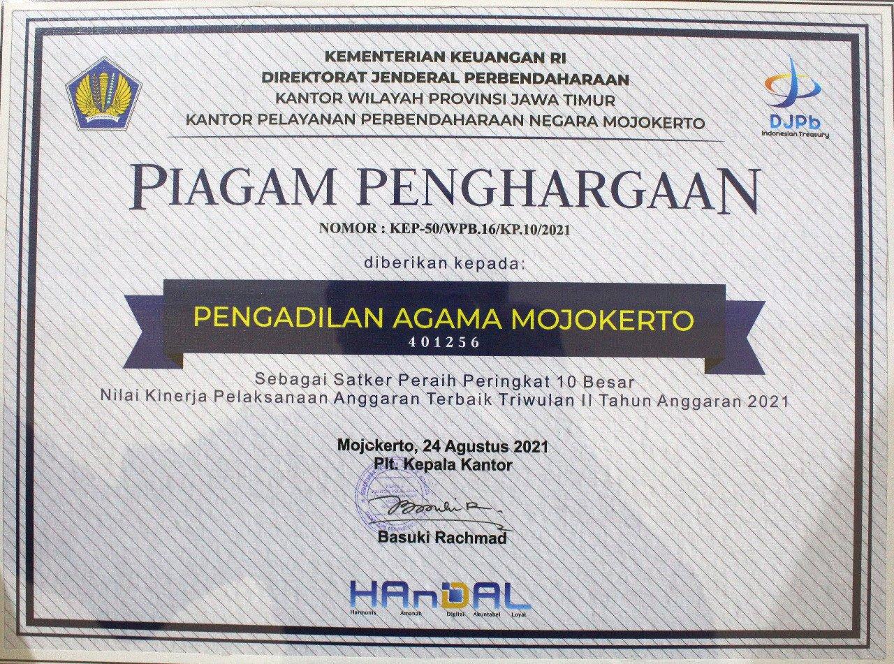 Peringkat 10 Besar TW II 2021 Kemenkeu KPPN Mojokerto